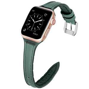 Loxoto Leather Band Compatible with Apple Watch 40mm 38mm for Women, Slim Leather Band Replacement Wristband for iWatch SE & Series 6/5/4/3/2/1, Green