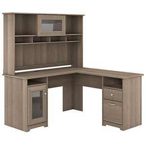 Bush Furniture Cabot L Shape Desk with Hutch, 60W, Ash Gray