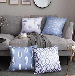 Symiiaus Decorative Throw Pillow Covers for Couch, Set of 4, 100% Cotton Canvas Modern Design Stripes Geometric Pillow Cases for Home Decor, Bed, Living Room Sofa 18 x 18 Inch Grey