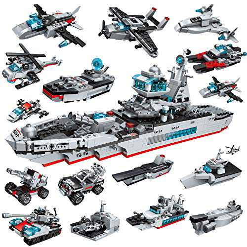 City Police Military Battleship Building Blocks Set, 700 PCS Aircraft Carrier Toys 17-in-1 Stem Toys for 6 Year Old Boys Creative Building Bricks Vehicles Blocks Kit for Kids 6 7 8 9 10 11 12 Year