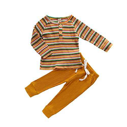 Baby Oufits Set Baby Boys Girls Ultra Soft + Pant Cute Solid Long Sleeve Stripe Top Yellow