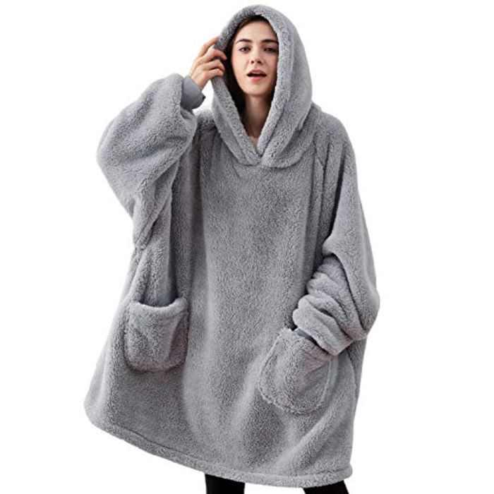 BEDSURE Oversized Wearable Blanket Hoodie - Fluffy Fleece Comfy Adults Snuggle Huggle Hoodie Blanket for Men & Women, Grey, 95x85cm