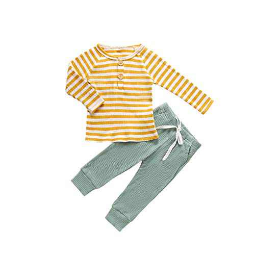 Baby Boys Girls Unisex Outfits Long Sleeve Stripe Top Solid Pants 2Pcs Little Kids Ribbed Pajamas Clothes Set Yellow Green