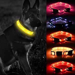 LED Dog Collar-USB Rechargeable with Waterproof Flashing Light-Makes Your Dog Visible,Safe&Seen