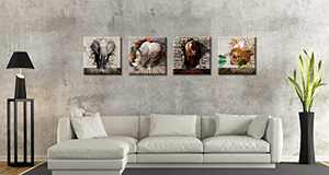 "Wild Animal Elephant Pictures Wall Decor Boys Room Nursery Dinosaur Rhinoceros and Bear for Living Room Home Modern Artwork Framed Decoration 12""X12""X4 Panels/Set"