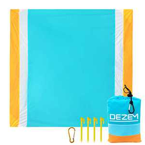 """Dezem Beach Blanket Sandproof, 79''×83'' Beach Mat Waterproof for 4-7, Lightweight Picnic Blankets, Portable Camping Mats for Travel, Camping, Hiking, Foldable w/Bag (210CM200CM/82.67"""" 78.74"""")"""