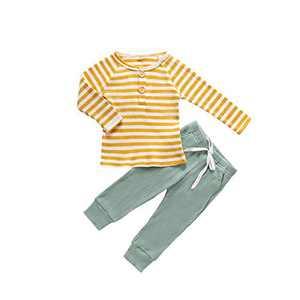 Toddler Kids Girls Boys Soft Rib Knit Solid Modal Tencel Fabric Sleepwear Pajamas 2pcs Set Yellow Green