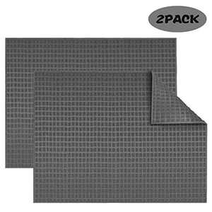 Goldmeet 2 pack Dish Drying Mats, Absorbent Reversible Large Microfiber Dish Drying Mat for Kitchen Counter 15 Inch x 20 Inch, Dishes Drainer Pad Folds Up for Easy Storage (Grey)