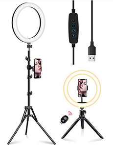 Samuyang LED Make Up Light, Selfie Ring Light with Adjustable Tripod Stand,Ring Light with Cell Phone Holder,with 3 Light Modes and 11 Brightness Level