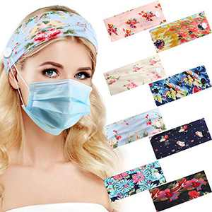 8 Pieces Boho Headbands with Buttons Elastic Beach Hair Bands Non-slip Wide Bohemian Knotted Head Wraps Hair Accessories for Women Running Yoga Sports Workout, 8 Styles