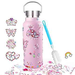 Decorate & Personalize Your Own Stainless Steel Skinny Insulated Tumbler for Girls with Tons of Rhinestone Glitter Gem Stickers, Reusable, BPA Free 20 oz Kids Water Bottle, Fun DIY Art and Craft