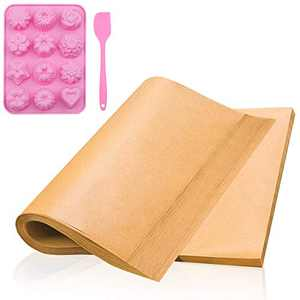 200Pcs Parchment Paper,Icnice Non-Stick Precut Baking Parchment with Silicone Baking Mould Parchment Paper Sheets for Baking Air Fryer Baking Paper Sheets Steaming Bread Cup Cake Cookie(812Inches)