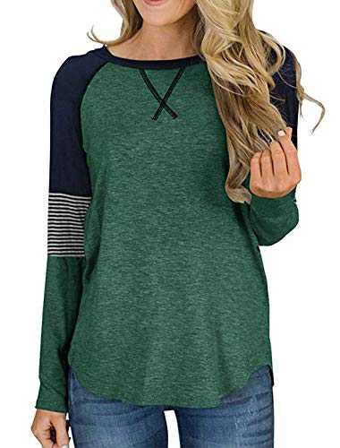 DKKK Basic Tees,Loose Fit Tops for Women Dressy Long Sleeve Shirts Crew Neck T Shirt Plain Flared Trapeze Cozy Womens Tunic Blouse Green Medium Tunic Tshirt Green M