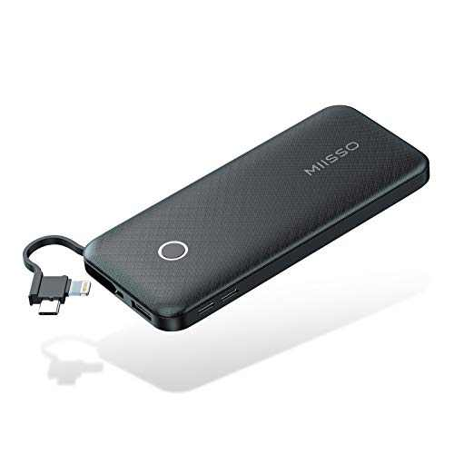 Slim 10000mAh Power Bank with Built-in Cables, Portable Phone Chargers for Phone, 5V Fast Charger External Battery Pack, Compact Portable Chargers with Cable Compatible with iPhones, Samsung