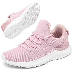 GEMAX Running Shoes Women Sneakers - Walking Shoes for Women Lace Up Lightweight Tennis Shoes Pink Size 6.5