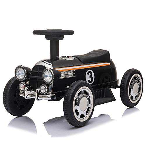 Kids Ride On Car, 6V Battery Power Electric Car with Music Player and LED Lights (Black)