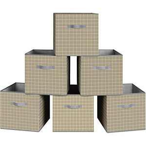 "Storage Bins, 6 Pack Collapsible Fabric Storage Cubes Organizer 11""x11""x11"" with Dual Handles, Foldable Closet Shelf Organizer for Nursery, Toys Organizer, Shelf Cabinet (6 Bins, Olive)"