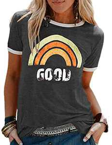Good Graphic T Shirt for Women Cute Rainbow Print Tee O Neck Summer Casual Short Sleeve Tops