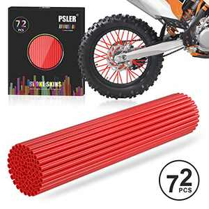 PSLER Red Spoke Skins Spoke Covers for Motorcycle Bicycle Dirt Bike Wheelchair Baby Carriage Spoke Wraps Trim Wrap Cover Spoke Protection Decoration Protector Pipe 72 Pieces with Packing box
