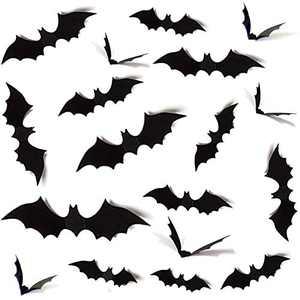 HUXICUI 36-Pieces Halloween Decorations DIY PVC 3D Decorative Bats Stickers Scary Wall Decals Set for Halloween Eve Home Door Decor Outdoor Indoor Party Supplies, Black