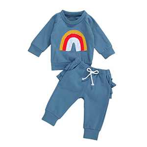 Baby Girls Rainbow Cotton Shorts Set Sleeveless Romper Drawstring Shorts Pants Outfit Summer Clothes (12-18M, Rainbow Long Pants Set Blue)