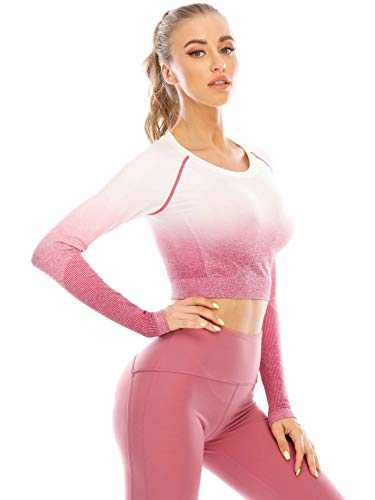 Move With You Women's Long Sleeve Workout Crop Tops Seamless Compression Shirts Running Gym Yoga Athletic