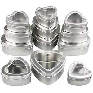 12 Pieces Heart Shaped Empty Metal Tin Cans with Clear Window Lids for Candle Making, Candies, Gifts & Treasures, Mixed Sizes