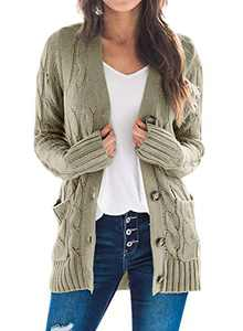 Dokotoo Womens Ladies Plus Size Ladies Winter Warm Casual Button Down Open Front Long Sleeve Cable Knit Cardigan Sweaters for Women Coats Jackets Outerwear with Pockets Green X-Large