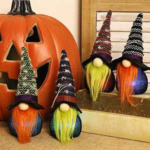 GMOEGEFT Halloween Gnomes 7 Color Changing Lights, Swedish Tomtes Witch Gnomes Holiday Decoration - Set of 4