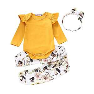 Newborn Girl Outfits Long Sleeve Ruffle Sleeve Top+Floral Long Pants+Floral Headband 3PCS Newborn Fall Clothes Yellow 0-6months