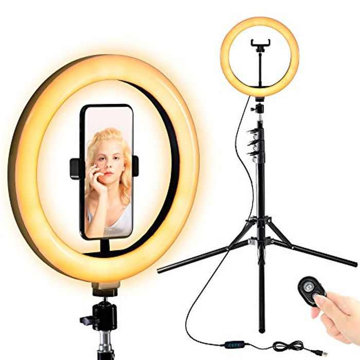 """FITUEYES 10"""" Selfie Ring Light with Adjustable Tripod Stand & Phone Holder for Live Stream/Makeup,Dimmable Beauty Led Ringlight for YouTube Video/Photography/TikTok Compatible with iPhone and Android"""