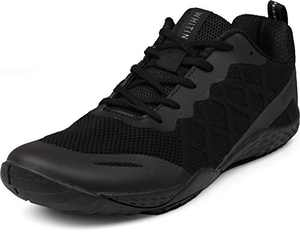 WHITIN Women's Minimalist Barefoot Shoes Low Zero Drop Trail Running Camping Size 7.5 8 Lady Fitness Gym Workout Sneaker Tennis for Female Wide Toe Box Lightweight Comfortable Black 38