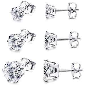 Sllaiss 3 Pairs Austrian Zirconia Stud Earrings 925 Sterling Silver Tiny Earrings for Women Men White Gold Plated 6 Pong CZ Earrings Set 3mm 4mm 5mm (Silver)