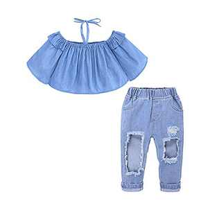 Little Girl Pant Set Off Shoulder with Bandage Long Sleeve Denim T-Shirt Top+Denim Ripped Jeans Kids Girl Fall Outfits Set 2-3T