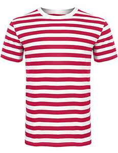 Sykooria Mens Basic Striped T-Shirt Crew Neck Cotton Vintage Couple Casual Halloween Slim Fit Stripes Top Tees S-XXL(Red White-Short-2,X-Large)