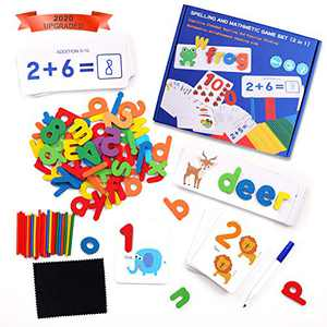 QZMTOY See and Spell Counting Toys 2 in 1 Learning Set Toddlers Abacus Math Words Game Letters Matching Puzzles Wooden Educational Montessori Preschool Toy for Kids Boys Girls Gift for Age 3 Years Up