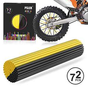 PSLER Black and Dark Yellow Spoke Skins Spoke Covers for Motorcycle Bicycle Dirt Bike Wheelchair Spoke Wraps Trim Wrap Cover Spoke Protection Decoration Protector Pipe 72 Pieces with Packing box