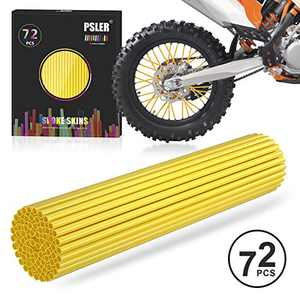 PSLER Dark Yellow Spoke Skins Spoke Covers for Motorcycle Bicycle Dirt Bike Wheelchair Baby Carriage Spoke Wraps Trim Wrap Cover Spoke Protection Decoration Protector Pipe 72 Pieces with Packing box