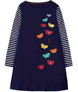 Fiream Girls Dresses Long Sleeves Outfit Girls Casual Dress 3-10 Years(JP101,4-5Y)