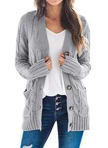 Dokotoo Womens Plus Size Fashion Oversized Chunky Casual Cardigan Jackets Button Down Open Front Ribbed Long Sleeve Cable Knit Sweater Coats Outwear with Pockets Grey XX-Large