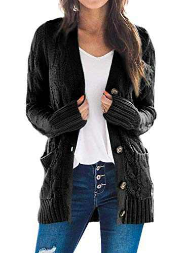 Dokotoo Womens Fashion Plus Size Winter Casual Chunky Cardigan Sweaters Oversized Open Front Long Sleeve Cable Knit Sweater Coats for Womens Jackets Outerwear with Pockets Black X-Large