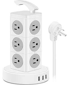 USB Power Strip Tower Surge Protector, 12 AC Outlets 3 USB Ports Electric Charging Station with 6.6 ft Extension Cord, 3000W 13A Desktop Power Strip with Handle, Circuit Breaker Safeguard Home Office