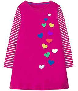 Fiream Girls Dresses Long Sleeves Outfit Girls Casual Dress 3-10 Years(JP102,3-4Y)