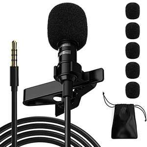 Ryqtop Professional Lavalier Microphone,Phone Microphone,Noise Reduction Mic, Suitable for Interview,Video,Recording,Black.59''