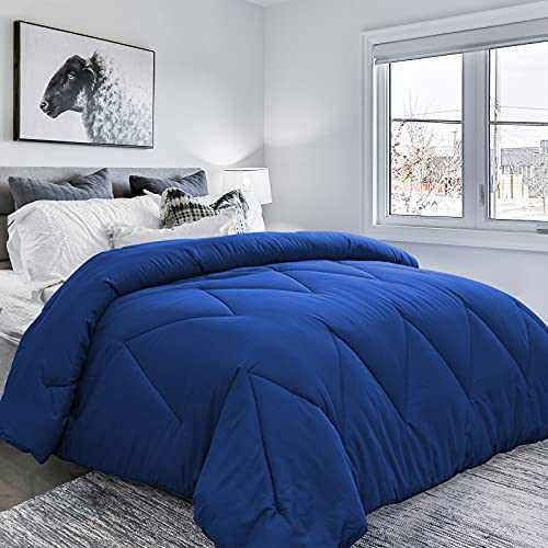 COMOOO All Season Down Alternative Comforter Queen Size, Ultra Soft Hypoallergenic Duvet Insert with 8 Corner Tabs, Machine Washable Lightweight Plush Microfiber Warm Bed Comforter(Queen,Navy)