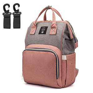 Baby Diaper Bag Backpack - Multifunctional Maternity Nappy Bags with Stroller Straps - Large Capacity Waterproof Travel Mommy Bag Stylish Pumping Backpack (Pink)