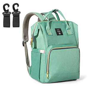Baby Diaper Bag Backpack - Multifunctional Maternity Nappy Bags with Stroller Straps - Large Capacity Waterproof Travel Mommy Bag Stylish Pumping Backpack (Green)