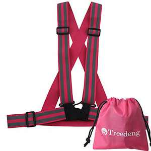 Treedeng Reflective Vest for Women Walking at Night Pink Vest Adjustable Safety Vest (Pink-SQIN 89.9in² Reflective)