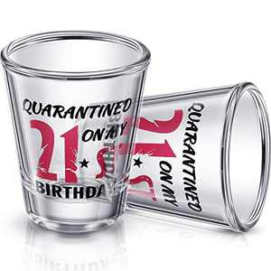 2 Pieces 21st Birthday Wine Glass Quarantined on My 21st Birthday Glasses 2 oz Social Distance Glass for Celebrating Turning Twenty One Birthday Party Supplies
