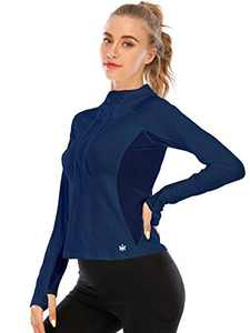 Move With You Running Hoodie for Women Sweatshirts Pullover - Long Sleeve Workout Tops Lightweight Yoga Gym Hiking Navy Blue